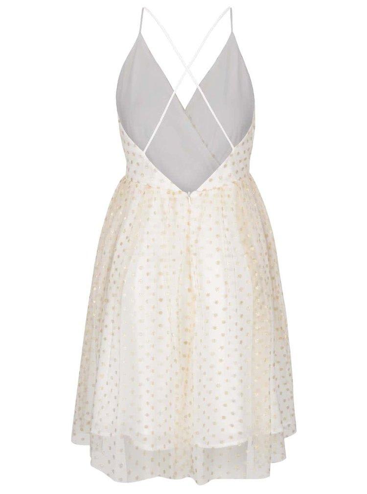 Šaty v krémovo-zlaté barvě s puntíky Miss Selfridge