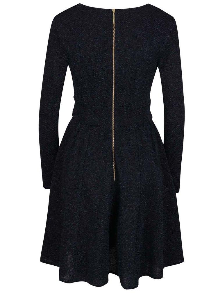 Tmavě modré třpytivé šaty s překládaným výstřihem Closet