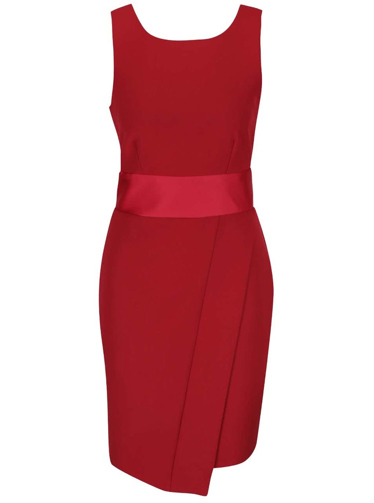 Červené šaty s odhalenými zády a mašlí Closet