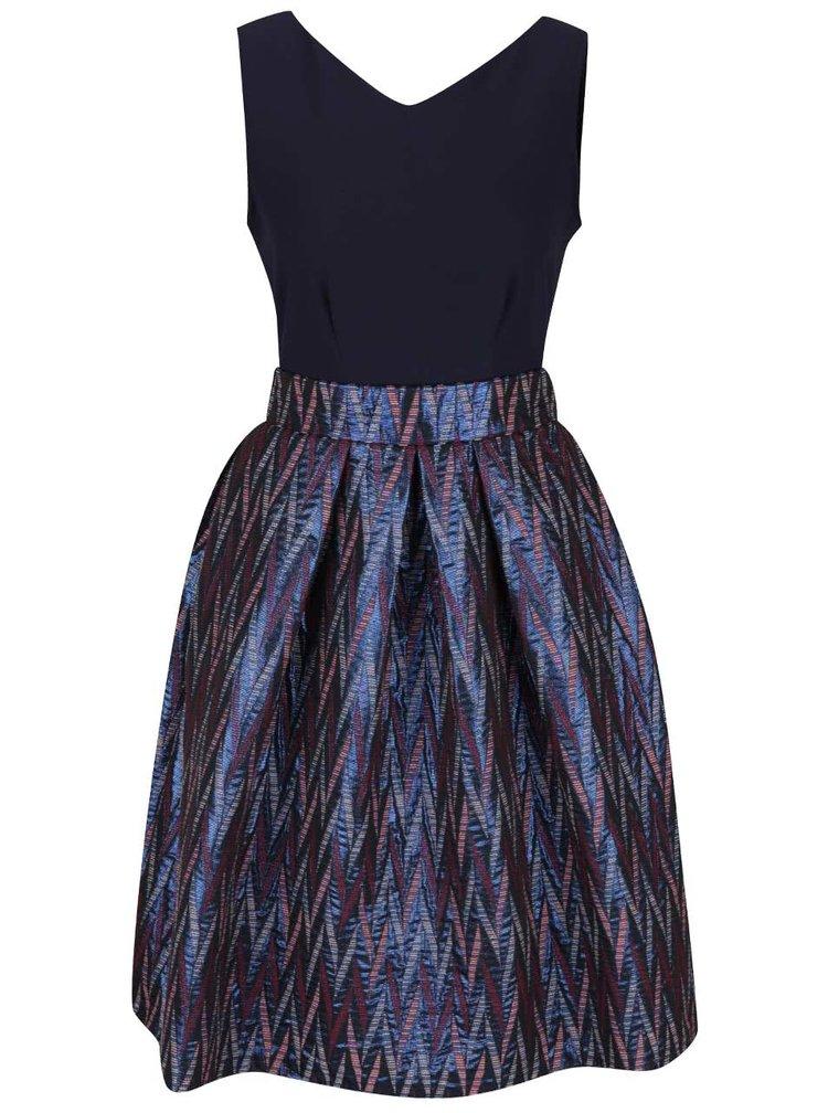 Rochie albastru închis cu model şi pliuri Closet