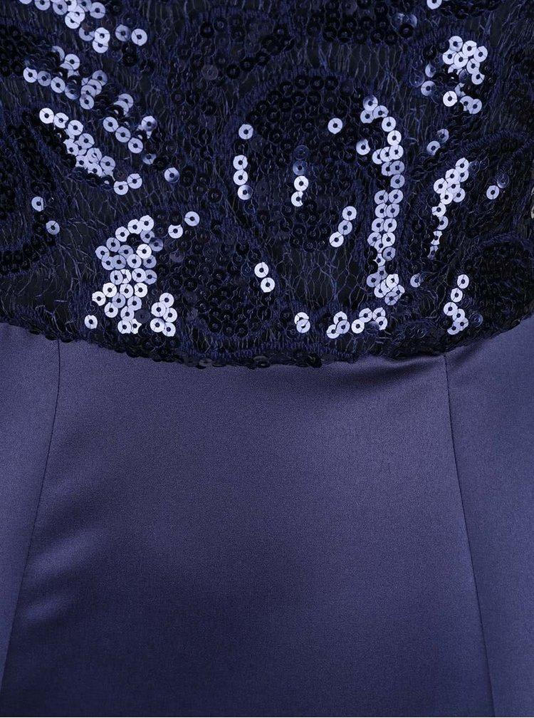 Tmavě modré lesklé maxišaty s flitry Closet