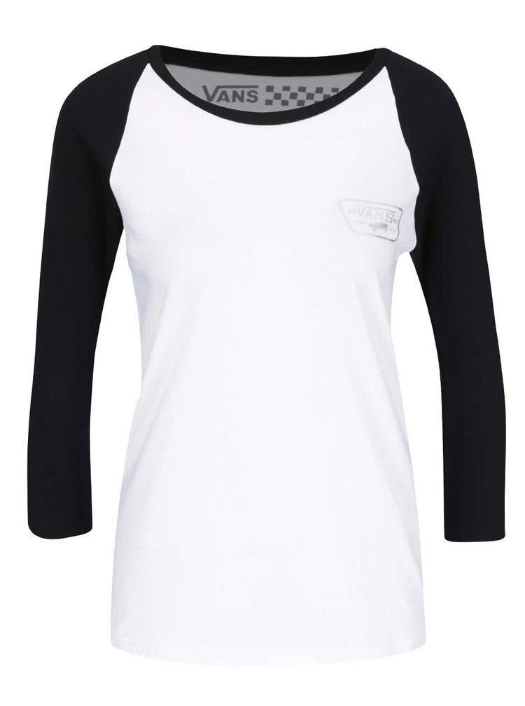 Čierno-biele dámske tričko 3/4 rukávmi Vans Hologram Raglan