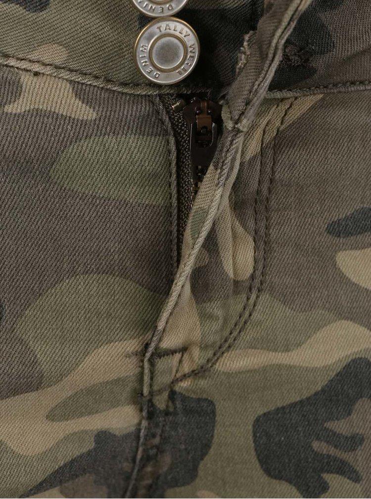 Zelené maskáčové skinny rifle s vreckami TALLY WEiJL