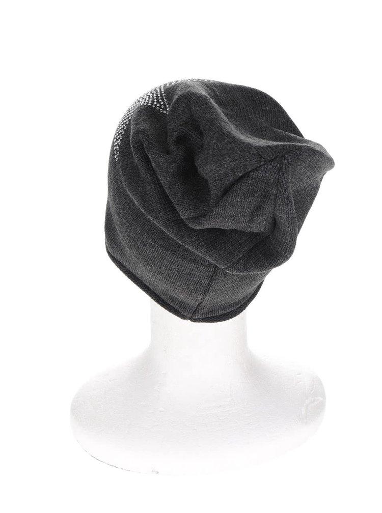 Tmavě šedá čepice se zdobením ve tvaru hvězdy Haily´s Strassstern