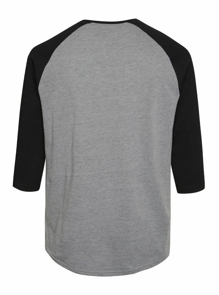 Černo-šedé pánské triko s 3/4 rukávy a potiskem Vans Authentic