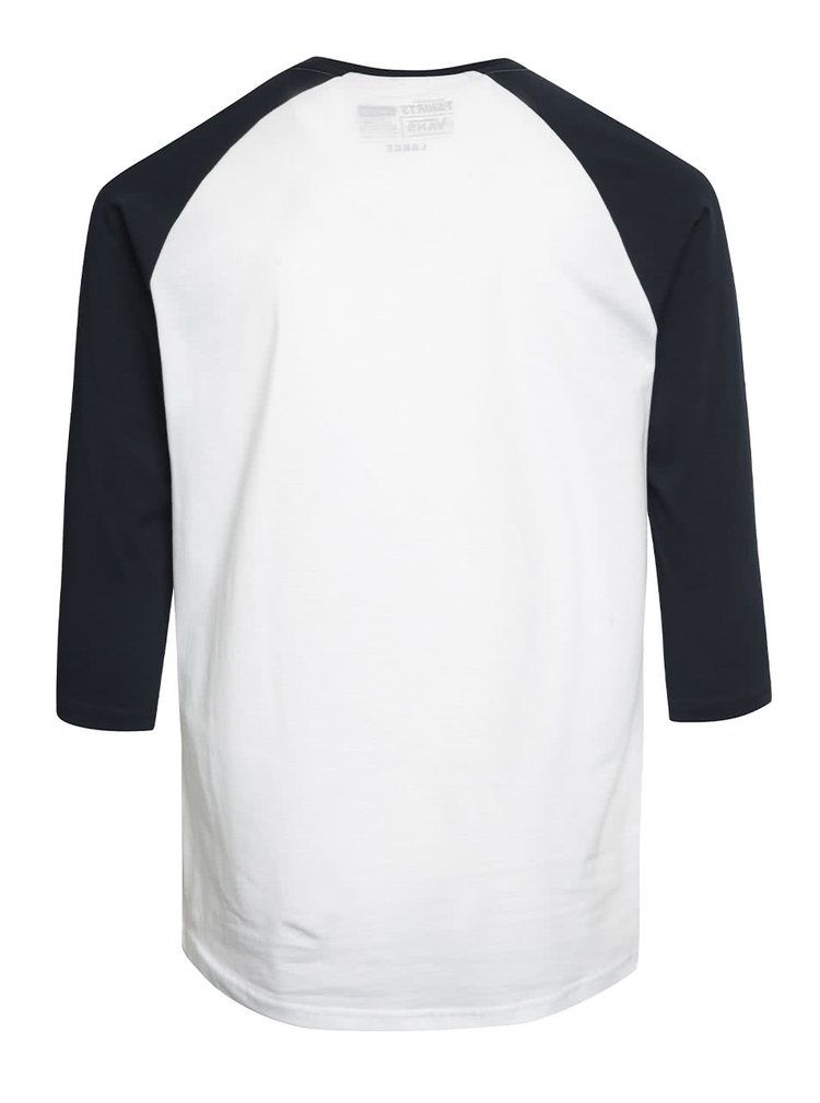 Modro-biele pánske tričko s 3/4 rukávmi a potlačou Vans Authentic