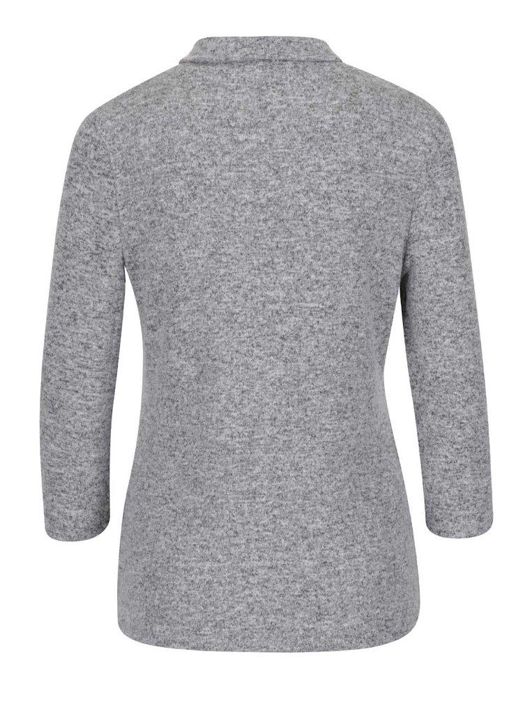 Sivé melírované tričko s rolákom a 3/4 rukávmi Haily´s Tala