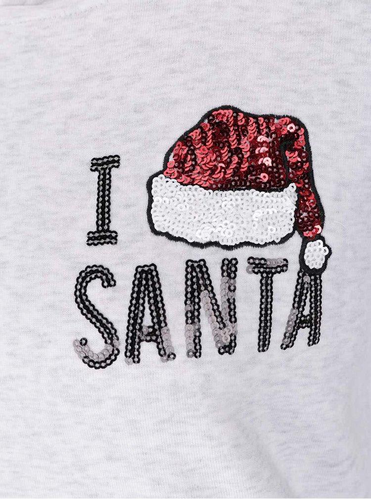 Světle šedá mikina s kapucí a vánočním motivem TALLY WEiJL