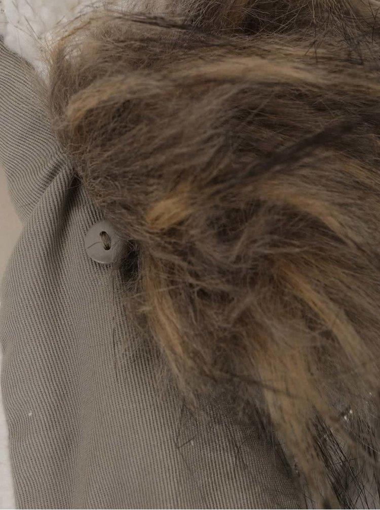 Šedá parka s kapucí a umělým kožíškem TALLY WEiJL