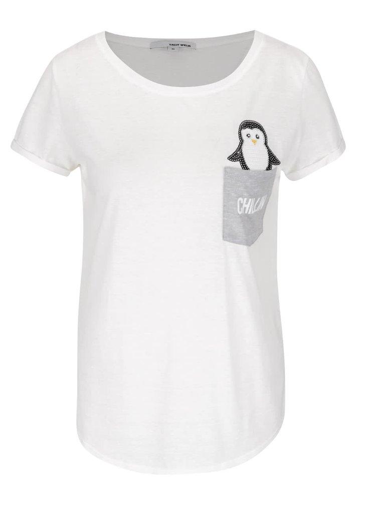 Krémové tričko s vreckom a tučniakom z flitrov TALLY WEiJL