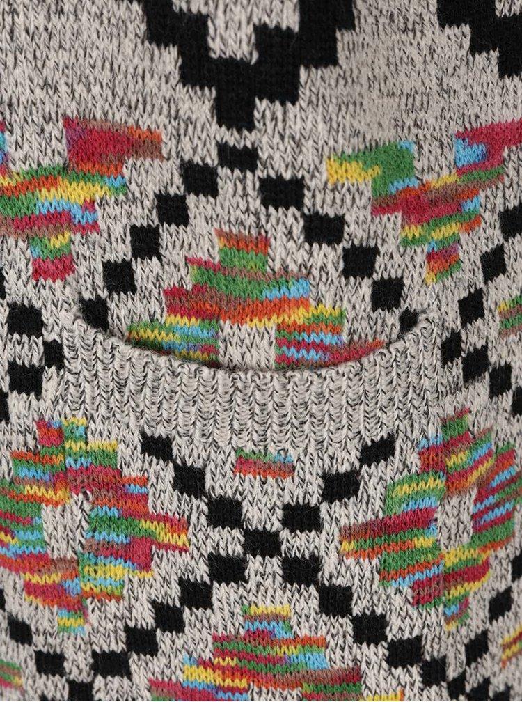 Šedý žíhaný kadrigan s barevným vzorem Haily´s Selina