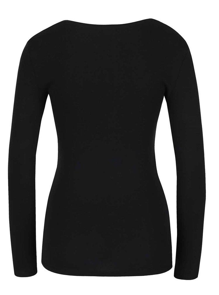 Černé tričko s dlouhým rukávem a kulatým výstřihem TALLY WEiJL