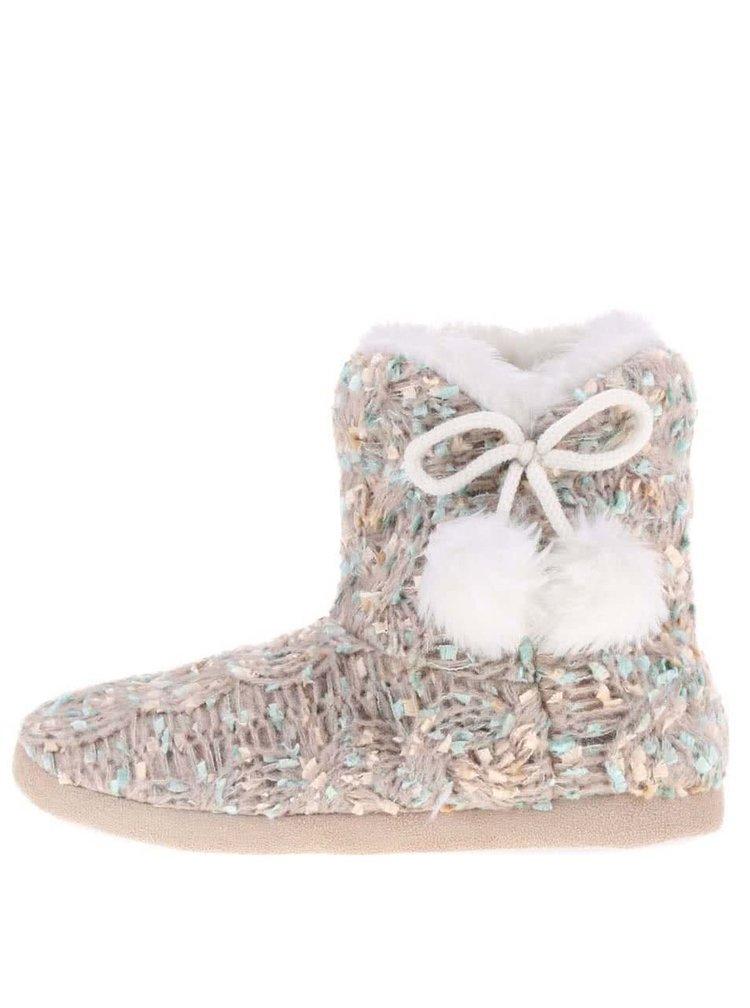 Hnedé pletené papuče s brmbolcom Something Special by Moon Vintage