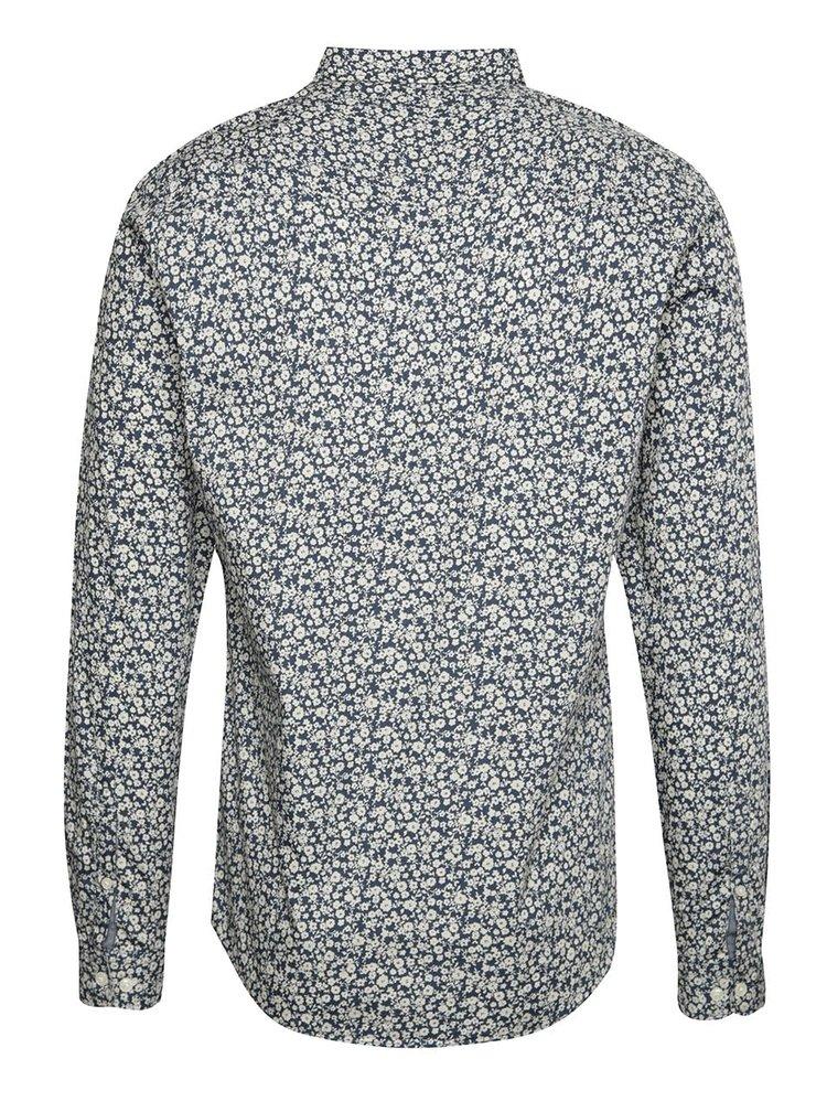 Krémovo-modrá neformálna košeľa so vzorom !Solid Frederich