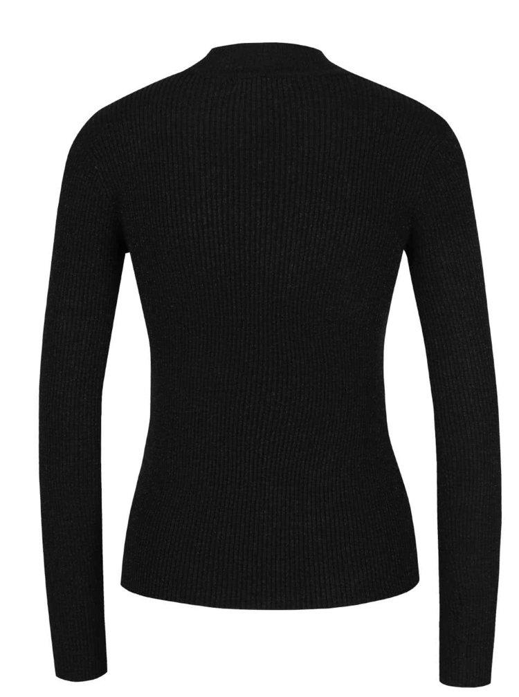 Čierny sveter s prestrihom v dekolte a ligotavým efektom TALLY WEiJL