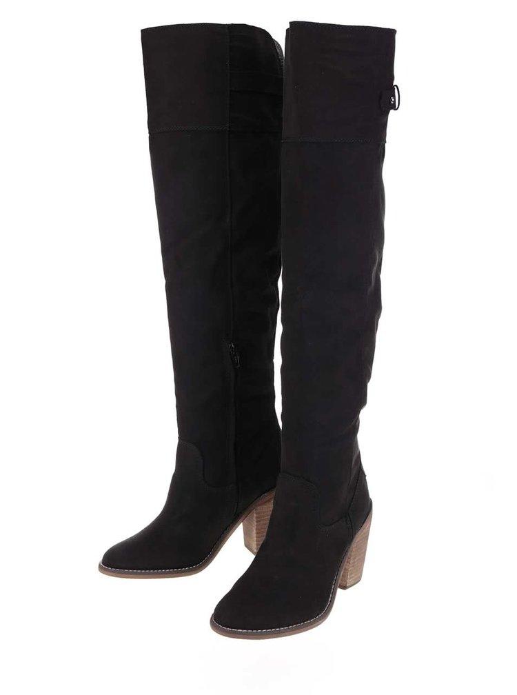 Černé vysoké kozačky na podpatku Dorothy Perkins Krystal