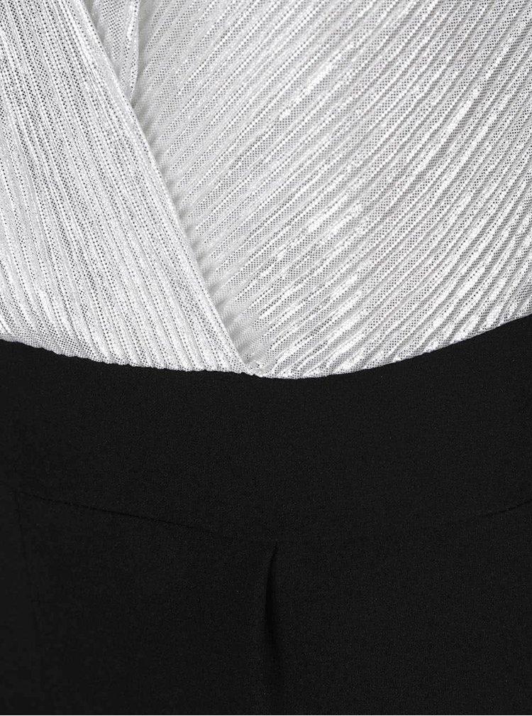 Černý overal s překládaným topem ve stříbrné barvě Haily´s Shirley