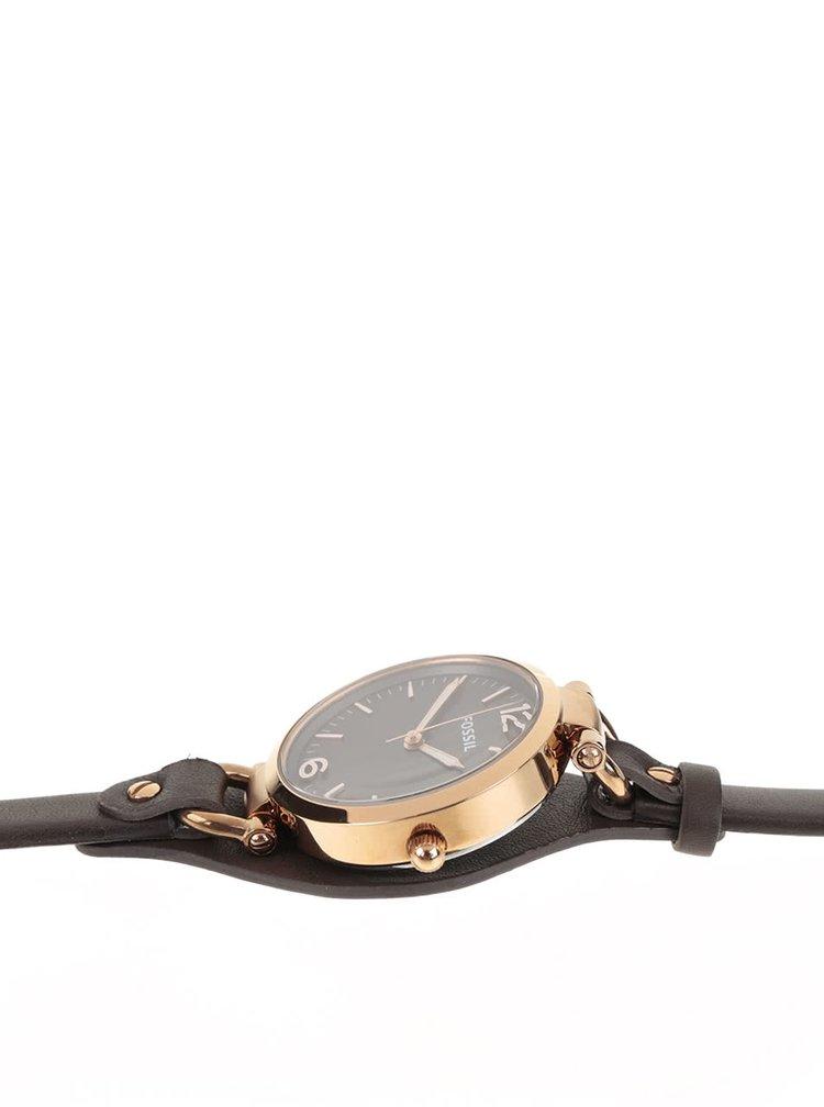Dámské hodinky ve zlaté barvě s tmavě hnědým koženým páskem Fossil Georgia