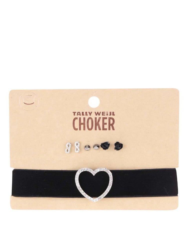 Súprava čierneho náhrdelníka so srdcom a troch párov náušníc TALLY WEiJL