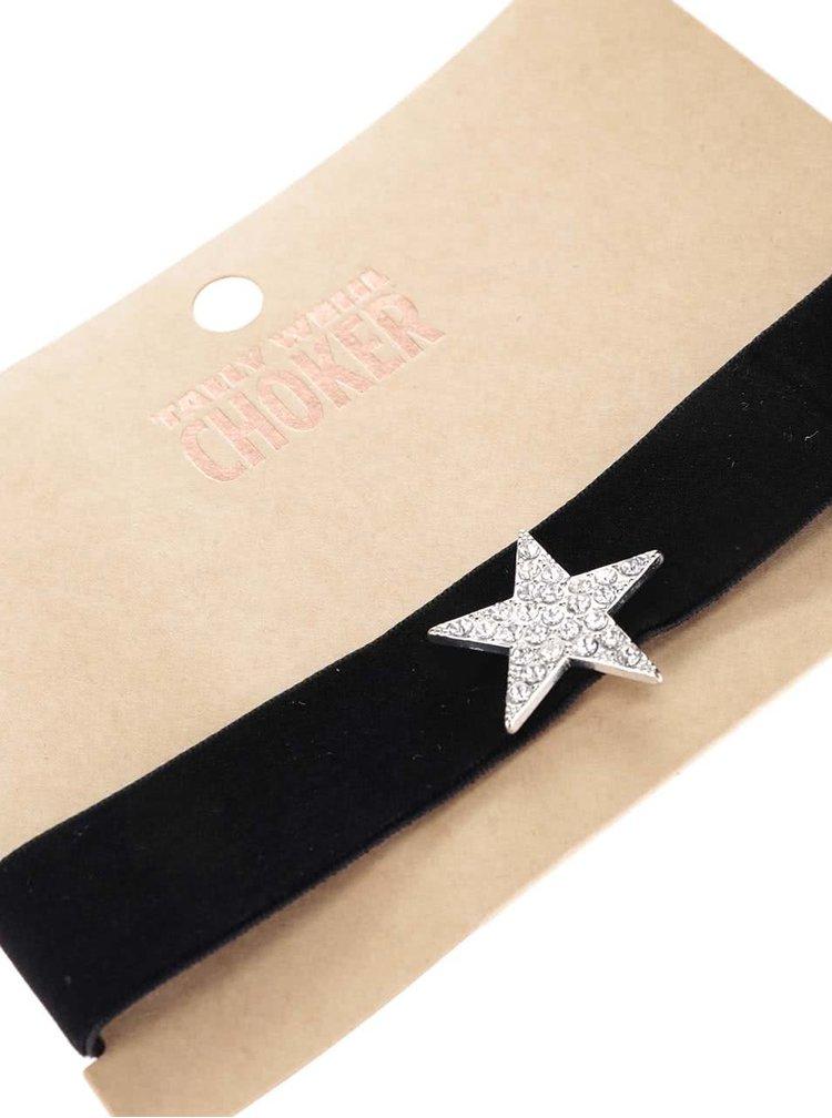 Černý náhrdelník s hvězdou Tally Weijl