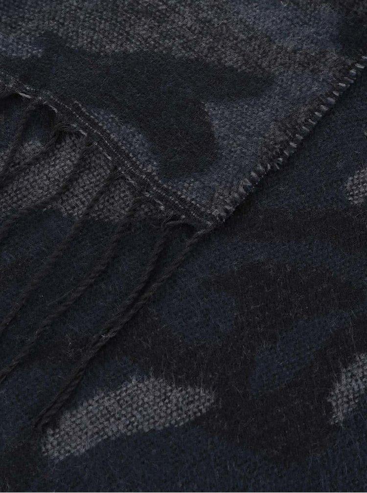 Šedo-modrá vzorovaná šála Blend
