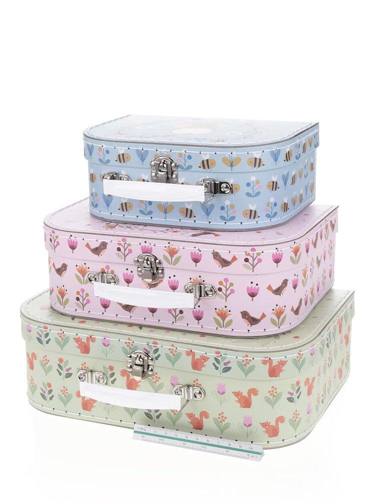 Sada troch kufríkov v zelenej,ružovej  a modrej farbe Sass & Belle