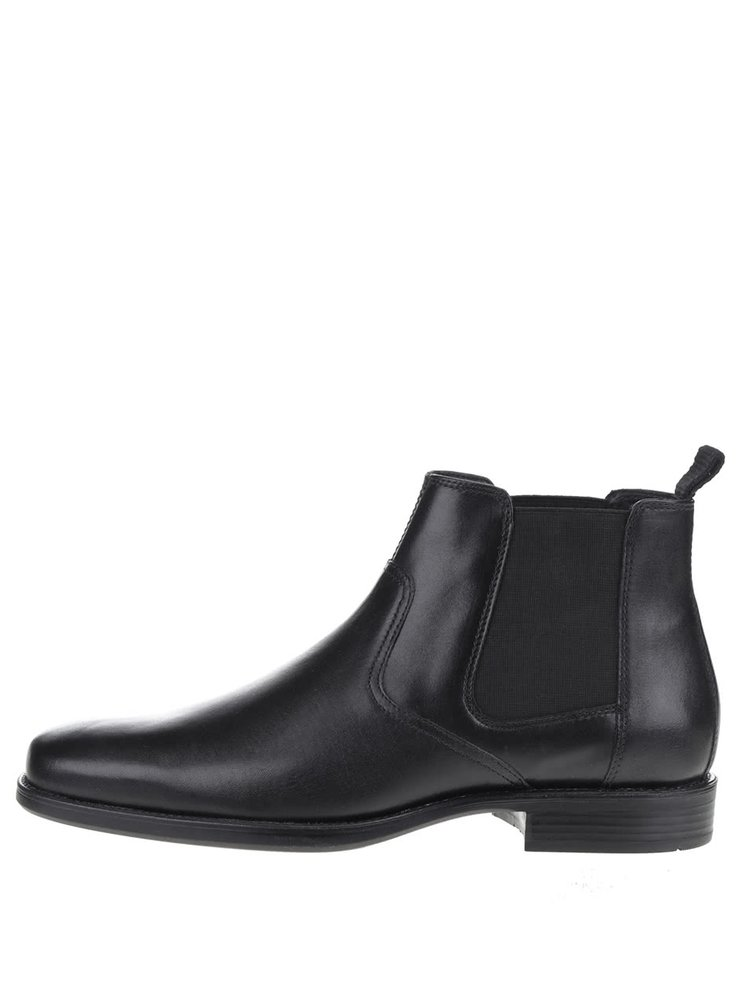 Černé pánské kožené kotníkové chelsea boty Geox Federico