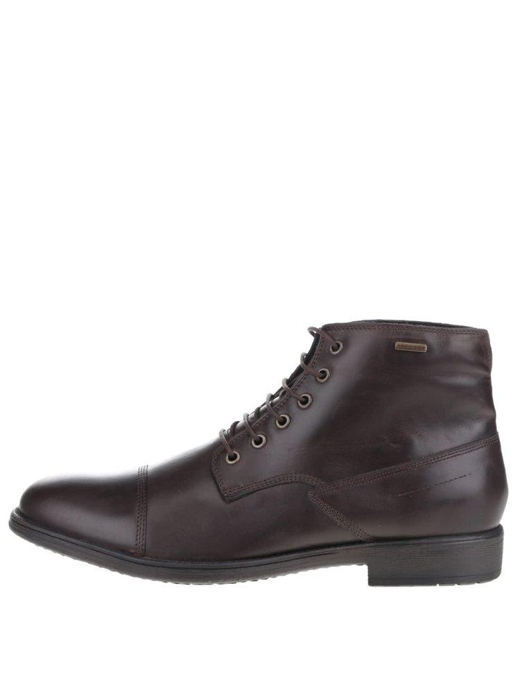 Tmavě hnědé pánské kožené kotníkové boty s rozparkem na patě Geox Jaylon