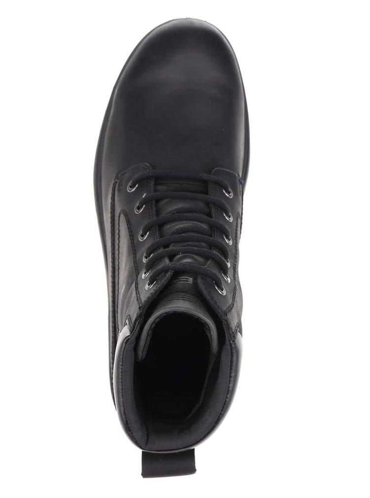 Černé pánské kožené voděodpudivé kotníkové boty Geox Akim ABX