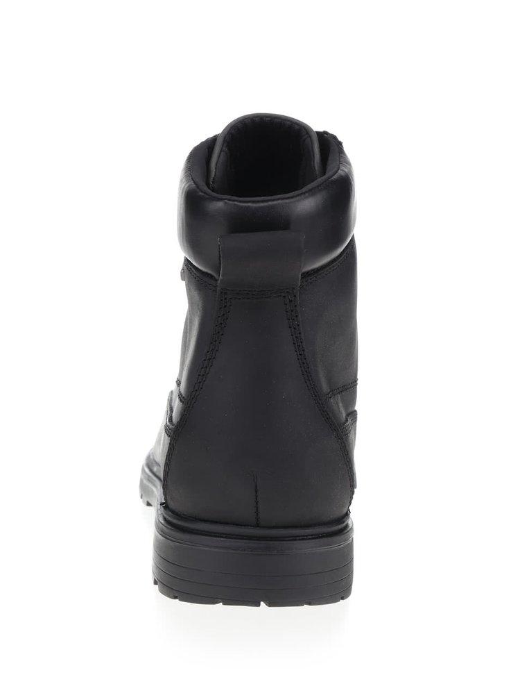 Čierne pánske kožené členkové topánky Geox Akim