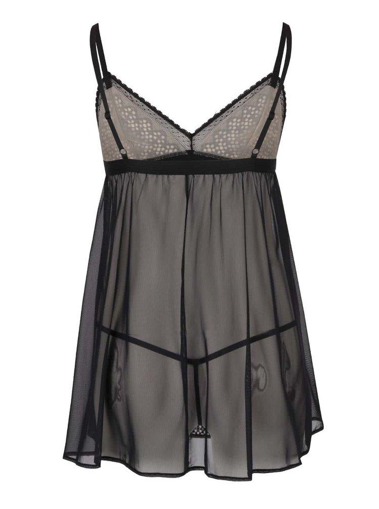 Černo-krémový set noční košilky a tang DKNY