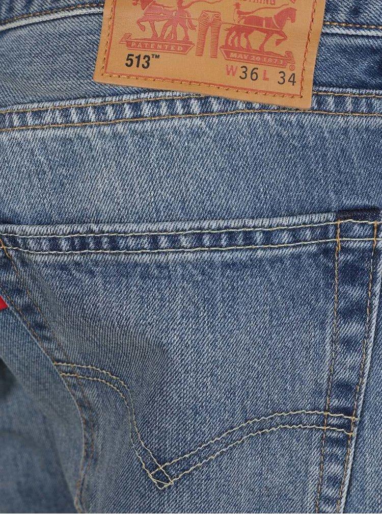Modré pánské slim džíny s vyšisovaným efektem Levi's® 513™