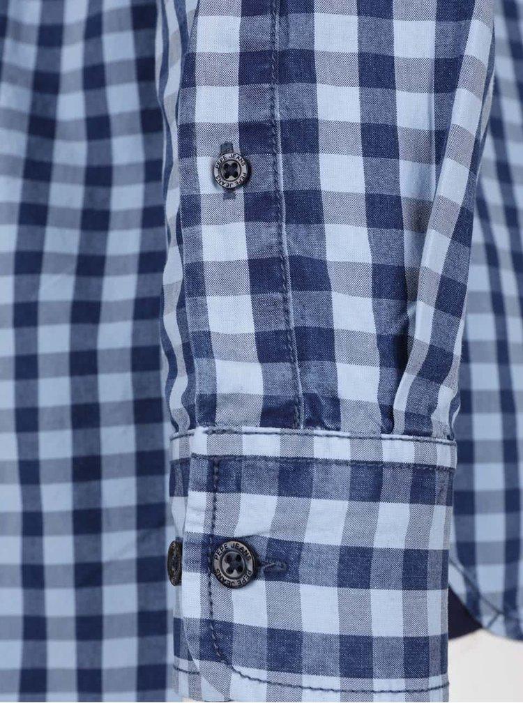 Modrá pánska kockovaná košeľa Pepe Jeans Jay
