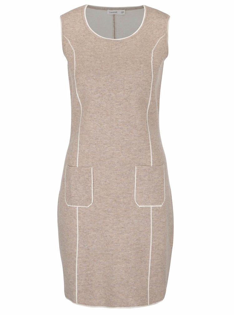 Béžové svetrové šaty bez rukávů Lavand