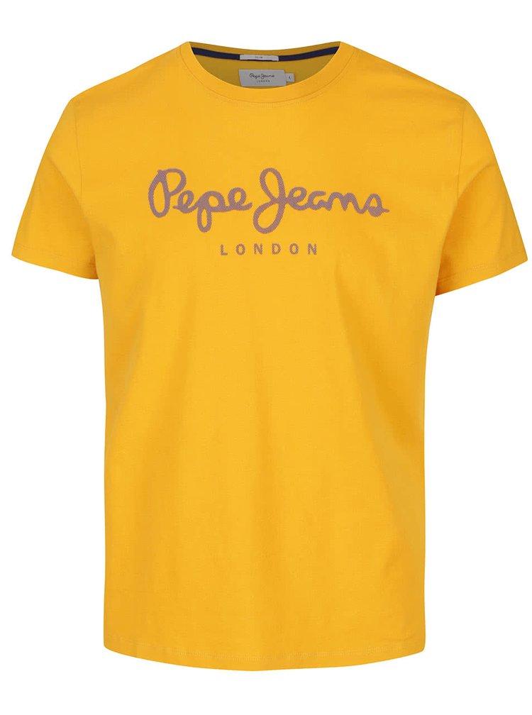 Žluté pánské triko s potiskem Pepe Jeans Sail