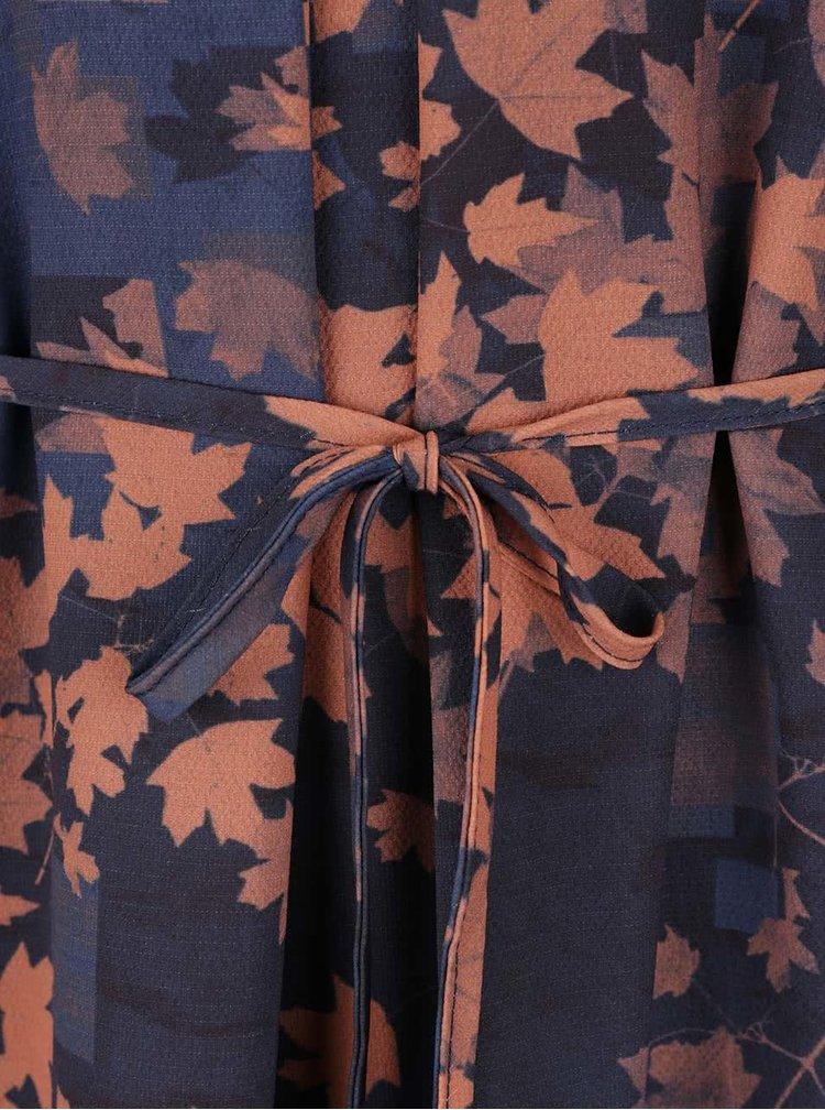 Tmavě modro-oranžové vzorované šaty Lavand