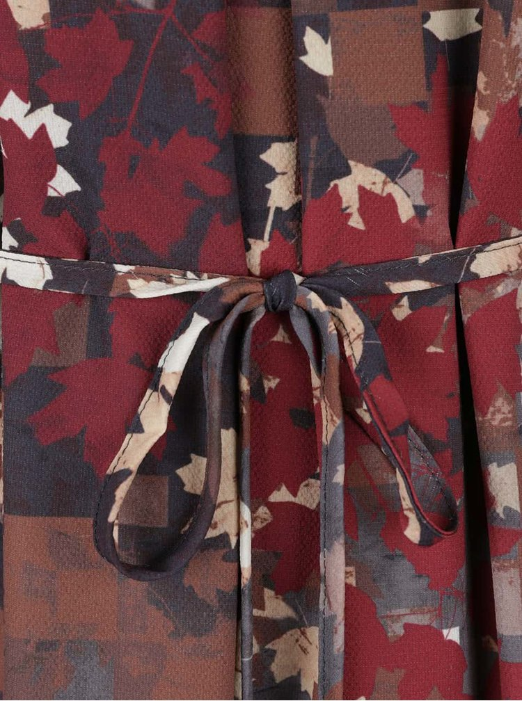 Šedo-červené vzorované šaty Lavand