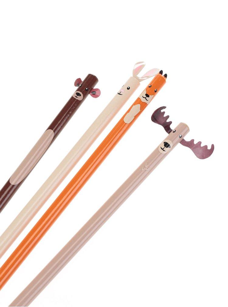 Kolekcia štyroch ceruziek s motívmi lesných zvierat Kikkerland