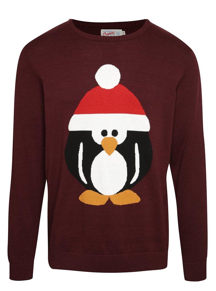 Vínový svetr s tučňákem Jack & Jones Festive