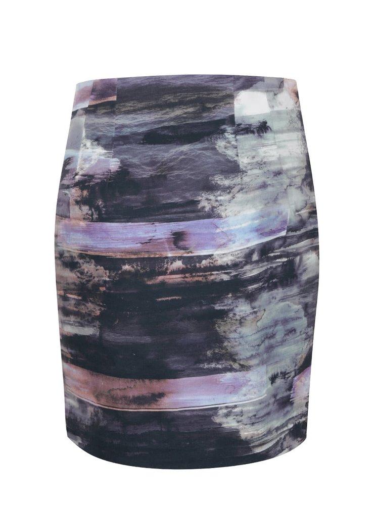 Šedá mini sukně s potiskem a zipem  Lavand