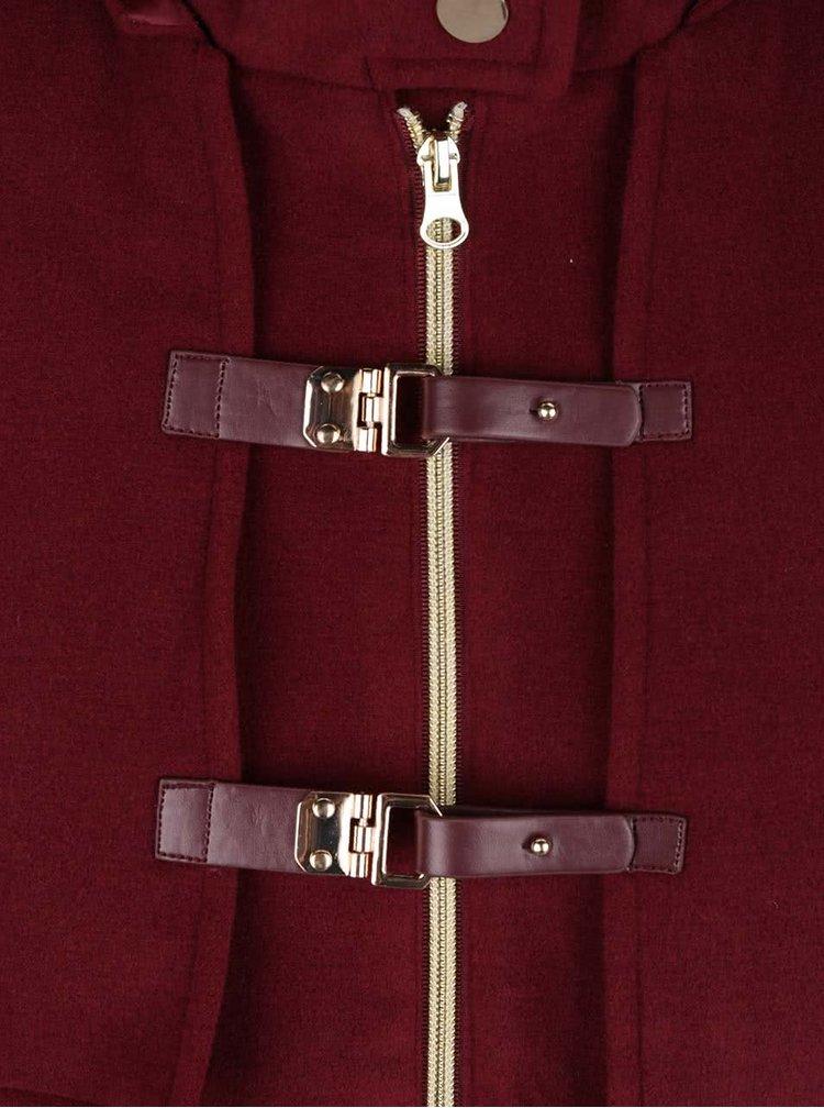 Vínový kabát s přezkami Lavand