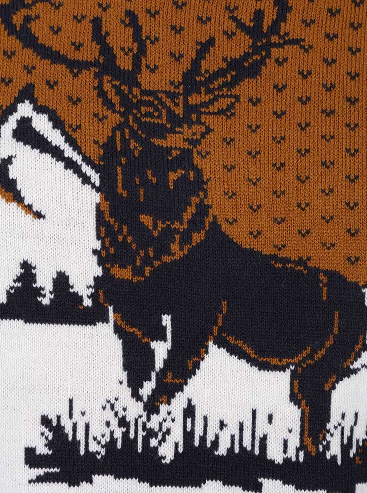 Krémovo-hnědý vzorovaný svetr s motivem jelena Burton Menswear London