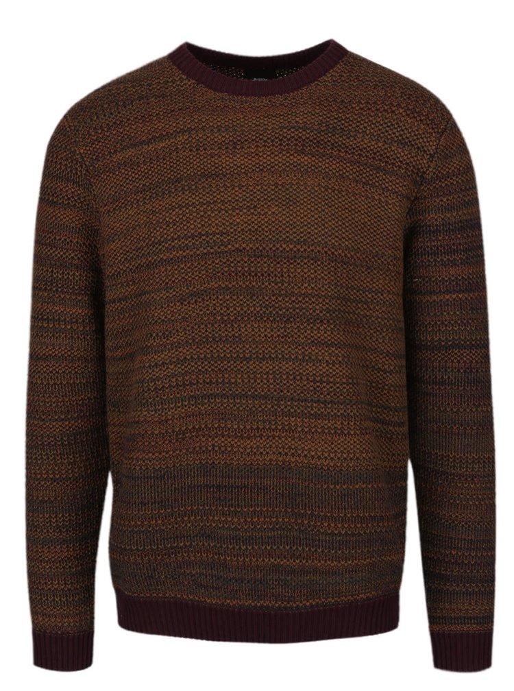 Vínovo-hnědý žíhaný svetr Burton Menswear London