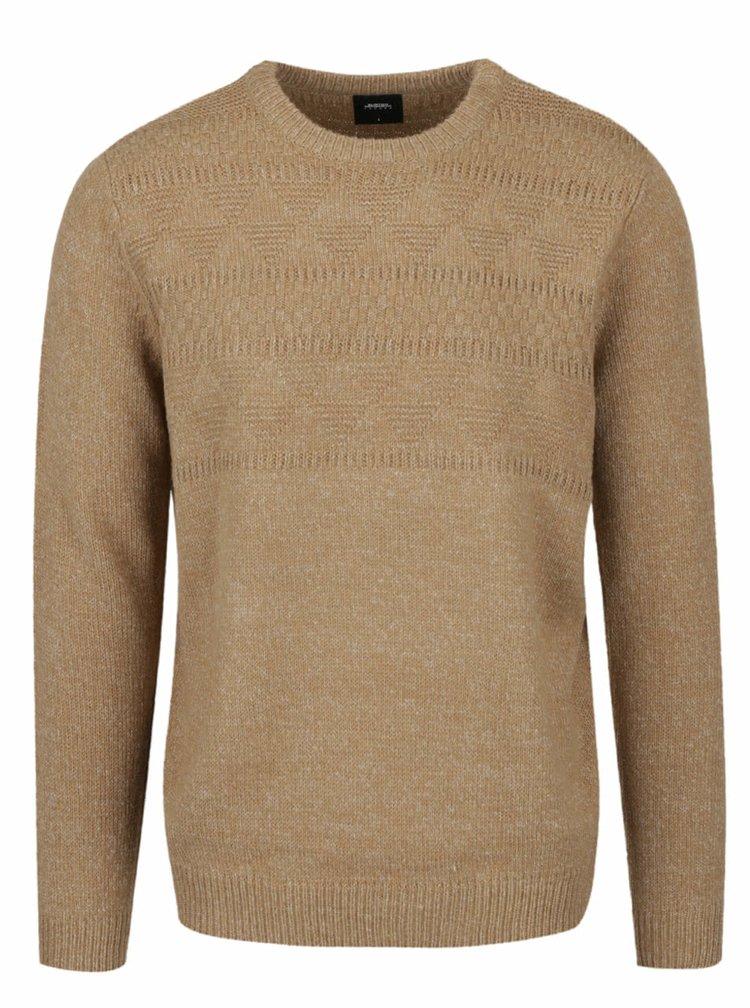Světle hnědý žíhaný svetr Burton Menswear London
