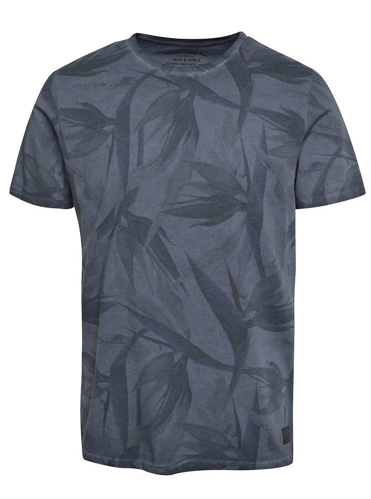 Šedomodré triko s krátkým rukávem Jack & Jones Leaf