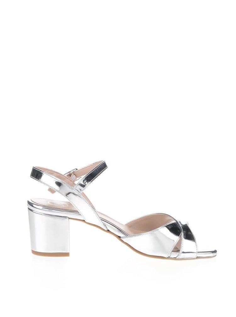 Sandale argintii OJJU cu toc masiv