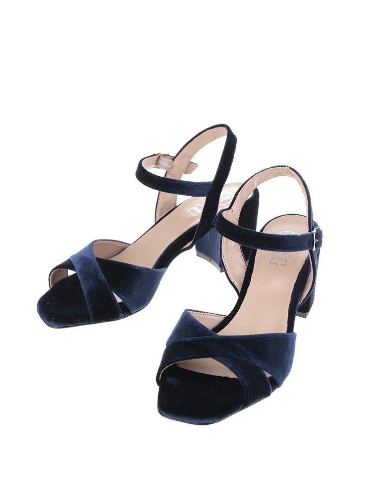 Tmavě modré sametové sandálky OJJU