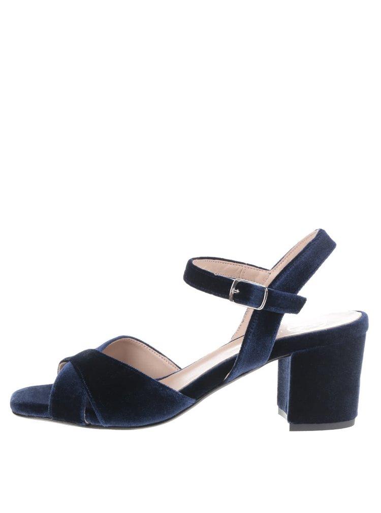 Sandale albastru ultramarin OJJU cu aspect catifea