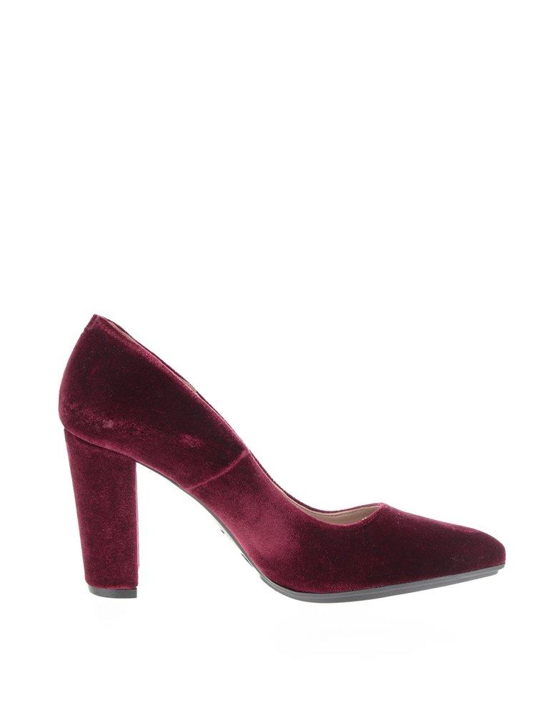 Pantofi rosu Bordeaux cu aspect de piele intoarsa OJJU