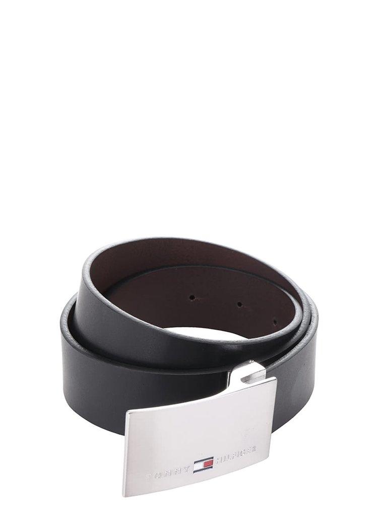 Černohnědý pánský kožený pásek s vyměnitelnými sponami Tommy Hilfiger